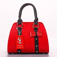 Яркая красная женская лаковая сумка-бочёнок  art. 1339red