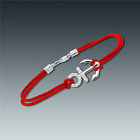 Серебряный браслет красная нить с якорем и цирконом