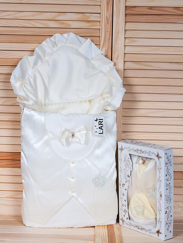 """Зимний набор для новорожденных на выписку """"Джентльмен"""" молочный"""