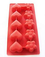 """Силиконовая форма """"Цветы и сердечки"""" для шоколада и льда 21х11 см"""