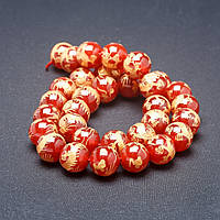 Бусины из натурального камня на нитке Золотой дракон Сердолик 12 мм