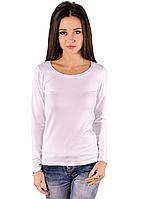 Белая футболка с длинным рукавом женская без рисунка хлопок стрейч трикотажная (Украина)