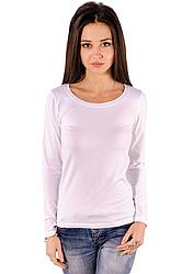 Біла футболка з довгим рукавом жіноча без малюнка бавовна стрейч трикотажна