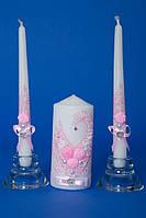 """Набор свадебных свечей """"Семейный очаг"""" розовый"""