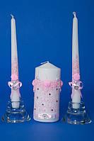 """Набор свадебных свечей """" Семейный очаг"""" розовый"""