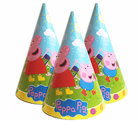 """Колпачки голуб.для детского Дня Рождения """" Свинка Пеппа"""""""