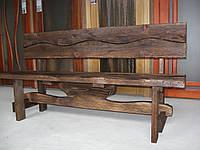 Скамья  деревянная Волна со спинкой  3м, фото 1