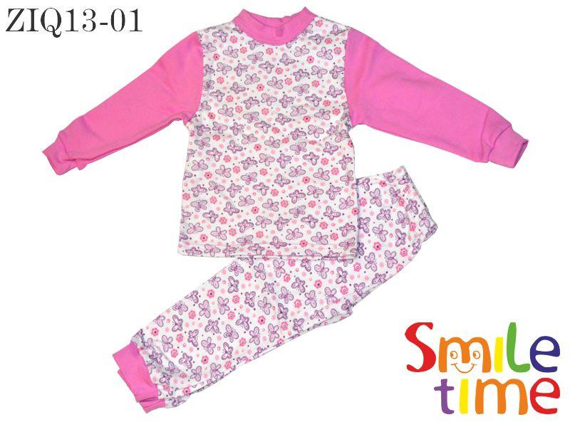 Пижама утепленная для девочки р.104,110,116,122,128 SmileTime Бабочки розовые, байка - SmileTime детская одежда от производителя в Запорожье