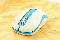 Мышка компьютерная беспроводная + радио ST106 белый+голубой, фото 1