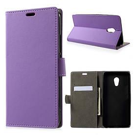 Чехол книжка для Meizu PRO 6 Plus боковой с отсеком для визиток, фиолетовый