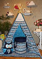 """Детский игровой домик, вигвам, палатка, шатер, шалаш """" Синий орнамент"""", фото 1"""
