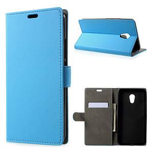 Чехол книжка для Meizu PRO 6 Plus боковой с отсеком для визиток, голубой