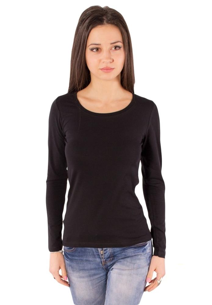 Черная футболка с длинным рукавом женская без рисунка хлопок стрейч трикотажная
