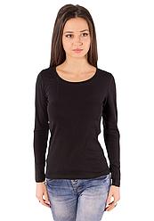 Черная футболка с длинным рукавом женская без рисунка хлопок стрейч трикотажная (Украина)