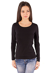 Чорна футболка з довгим рукавом жіноча без малюнка бавовна стрейч трикотажна