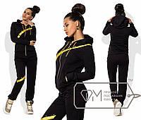 Спорткостюм из двунитки с отделкой яркой лентой наискось - олимпийка и штаны с манжетами 8488