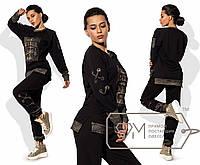 Спорткостюм из двунитки с плетением на люверсах - туника с принтом и отделкой плюс штаны на манжетах 8481