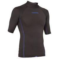 Лайкровая футболка для плавания с уф защитой Tribord; короткий рукав; чёрная; фиолетовые вставки
