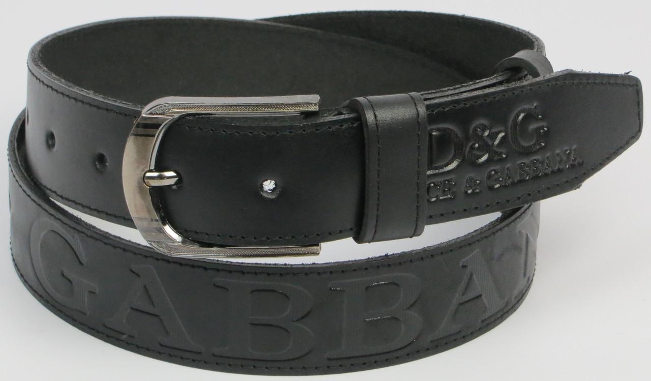 Ремень под джинсы Skipper 3641-1 в стиле D&G черный ДхШ: 127х4 см.