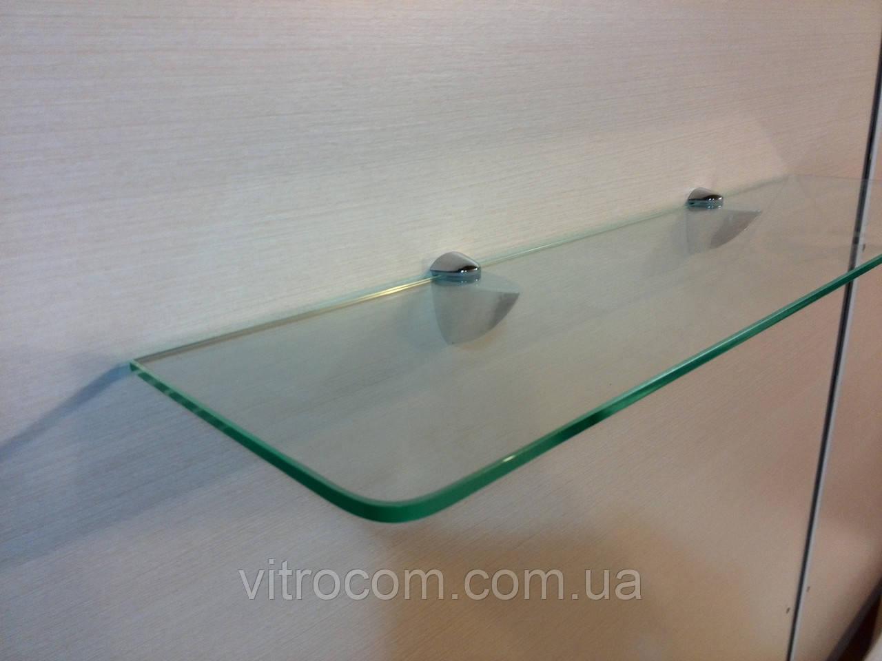 Полка стеклянная прямая прозрачная 5 мм 40 х 15 см