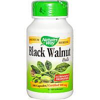 Nature's Way, Black Walnut Черный орех, отруби, 500 мг, 100 капсул, Чёрный орех