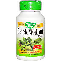Nature's Way, Black Walnut Черный орех, отруби, 500 мг, 100 капсул