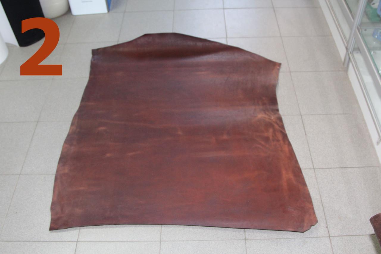 Кожа растительного дубления  жированная  беверли 2,0  коричневая  Италия