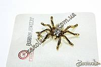 Брошь в виде паука с камушкми чешское стекло, длина: 5 см, 1 штука