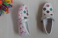 Белые перламутровые мокасины туфли для девочки с цветочками тм Том.м р.27,32