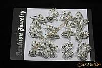 Металлические брошки с камнями, упаковка ассорти , длина: 3,5-4 см, 12 штук в упаковке