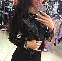 Модная куртка-косуха ZARA черного цвета с шипами