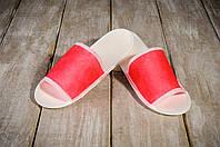Тапочки для бани и сауны EURO TEXTILE красные, флизелиновые, фото 1