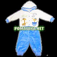 Детский велюровый костюм р. 80 для новорожденного 3471 Голубой А