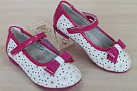 Белые туфли на девочку с лаковыми вставками малина тм Tom.m р.25,27,29