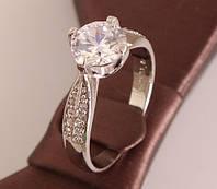 Кольцо посеребренное с фианитом White Stone
