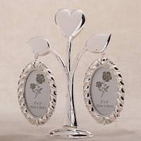 "Фоторамка металлическая Семейное дерево на 2 фото"" Сердце"" 18 см"