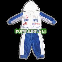 Детский велюровый костюм р. 74 для новорожденного 3466 Голубой