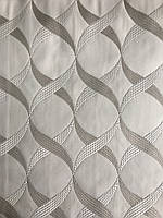 Белая  ткань для штор с серым рисунком  абстракция