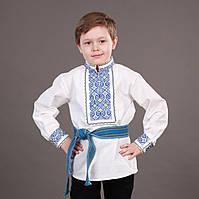 Патриотическая вышиванка для мальчика на льне на рост 116-122 см, фото 1