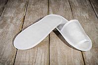 Тапочки для бани и сауны EURO TEXTILE флизелиновые белые, на картонной подошве