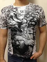 Мужская футболка двойная печать белая