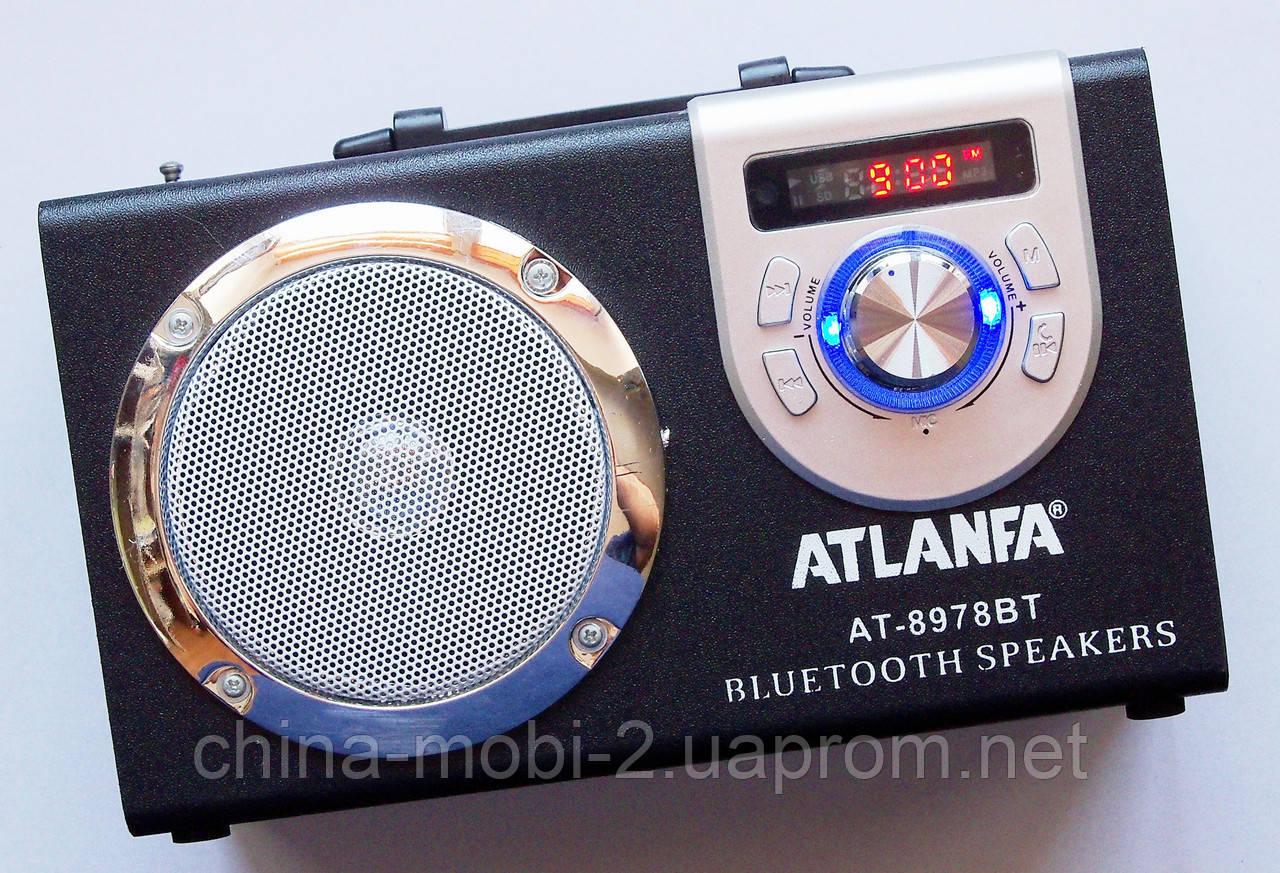 Акустическая колонка  Atlanfa AT-8978BT с Bluetooth  MP3 SD USB FM , black
