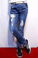 Модные, стильные, осенне-весенние рваные джинсы для девочек от 4 до 12 лет (104-152см.). Yilihao.