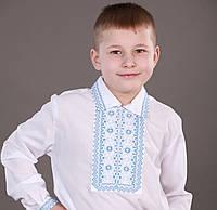 """Рубашка-вышиванка для мальчика с застежкой на кнопках с красной вышивкой """"Чумачка"""""""