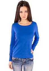 Футболка з довгим рукавом жіноча без малюнка синя бавовна стрейч трикотажна