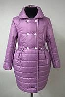 Пальто демисезонное на девочку 122, 128, 134,140,р.сиреневое