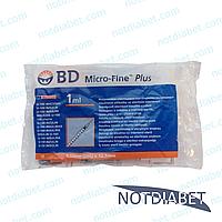 Шприц для инсулина bd micro fine plus 1 мл 29G x 12,7 мм, 10 шт