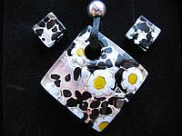 Набор подвеска+сережки, оригинальное муранское стекло, фото 1