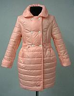 Пальто демисезонное на девочку 122, 128, 134,140,р.персиковое
