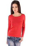 Красная футболка с длинным рукавом женская без рисунка хлопок стрейчевая трикотажная (Украина)